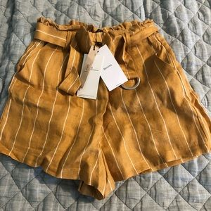 Yellow Bershka paper bag shorts